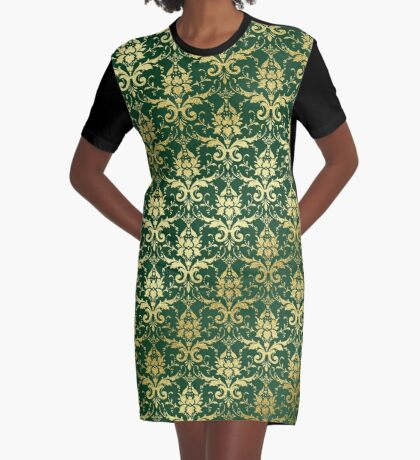 Damask Glitter Gold Dark Green Classic Elegant Graphic T-Shirt Dress
