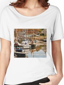 English Coastal Village Harbour - British Coast And Beach  Women's Relaxed Fit T-Shirt