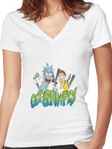 rick and morty get schwifty Women's Fitted V-Neck T-Shirt