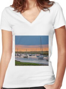 Orange and Blue Evening Mooring - British Coast And Beach  Women's Fitted V-Neck T-Shirt