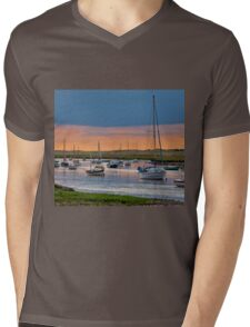 Orange and Blue Evening Mooring - British Coast And Beach  Mens V-Neck T-Shirt