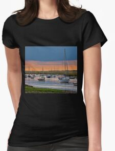 Orange and Blue Evening Mooring - British Coast And Beach  Womens Fitted T-Shirt