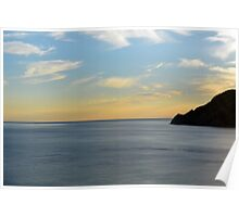 Sunset over the sea in Vernazza Poster
