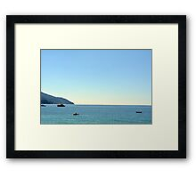 The blue sea with ships from Portofino Framed Print