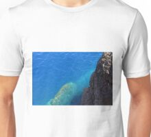 The blue sea and rocky land. Unisex T-Shirt