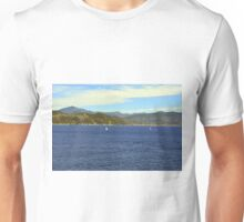 The blue sea and hills from Portofino. Unisex T-Shirt
