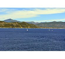 The blue sea and hills from Portofino. Photographic Print