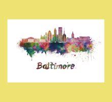 Baltimore skyline in watercolor Kids Tee