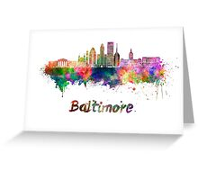 Baltimore skyline in watercolor Greeting Card