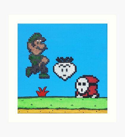 Luigi v Shy Guy (Paint 'N' Beads) Art Print