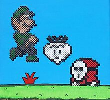 Luigi v Shy Guy (Paint 'N' Beads) by christiantyner