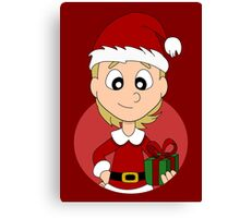 Christmas girl cartoon Canvas Print