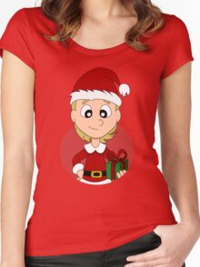 Christmas girl cartoon Women's Fitted Scoop T-Shirt