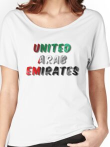 United Arab Emirates Word With Flag Texture Women's Relaxed Fit T-Shirt