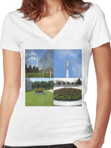 The Preston Temple Grounds in Spring and Summer Women's Fitted V-Neck T-Shirt