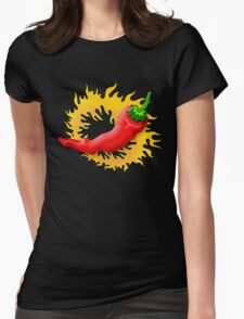 Pepper with flame Womens Fitted T-Shirt