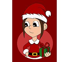 Christmas girl cartoon Photographic Print