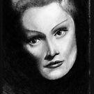 Marlene Dietrich Dramatic Portrait Pencil Drawing  by Framerkat