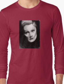 Marlene Dietrich Dramatic Portrait Pencil Drawing  Long Sleeve T-Shirt
