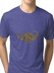 African Buffalo Head Drawing Tri-blend T-Shirt