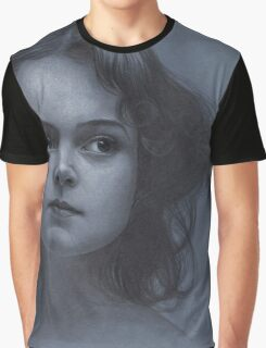 Vintage girl art - surreal drawing on blue paper Graphic T-Shirt