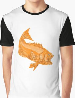 Largemouth Bass Diving Drawing Graphic T-Shirt