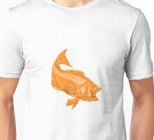 Largemouth Bass Diving Drawing Unisex T-Shirt