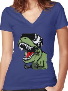 VR T-rex Women's Fitted V-Neck T-Shirt