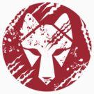 Wolf Head Circle Retro by patrimonio