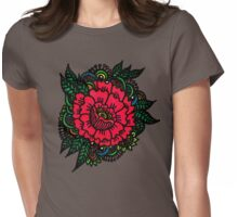Peony rock Womens Fitted T-Shirt