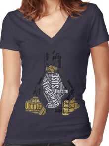 Tux Typo Women's Fitted V-Neck T-Shirt