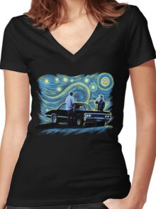 supernatural starry night sam dean winchesters  baby j2 Women's Fitted V-Neck T-Shirt