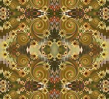 Daisy & Spirals fabric by Leonie Mac Lean
