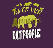 Save The Animals EAT PEOPLE Womens Fitted T-Shirt