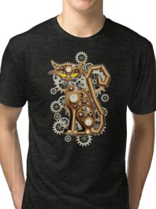 Steampunk Cat Vintage Copper Toy Tri-blend T-Shirt