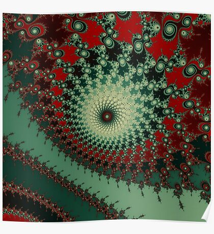 Hot Peppery Spicy Fractal - green and red  Poster