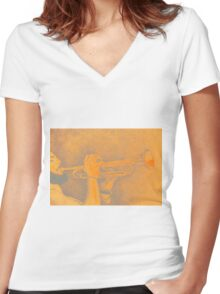 Jazz session. Drawing of man playing the trumpet. Women's Fitted V-Neck T-Shirt