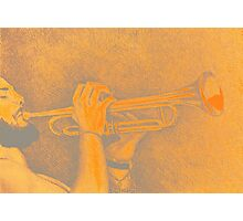 Jazz session. Drawing of man playing the trumpet. Photographic Print