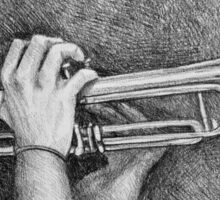 Jazz session. Drawing of man playing the trumpet. Sticker