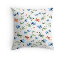 Watercolor summer pattern with floral theme Throw Pillow