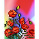 Red Poppies on Colourful Background, Colour Pencil Art, Flowers, No. 2 by Joyce Geleynse