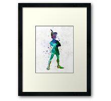 Peter Pan in watercolor Framed Print