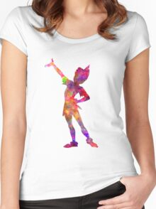 Peter Pan in watercolor Women's Fitted Scoop T-Shirt