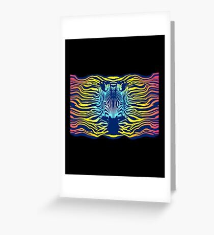 Swimming Zebra in Summer Sunset Sea Greeting Card
