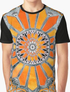 Celebrating the 70's - tangerine orange watercolor on grey Graphic T-Shirt