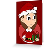 Christmas girl cartoon Greeting Card