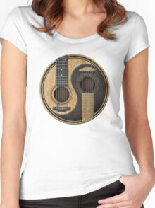 Acoustic guitars yin yang Women's Fitted Scoop T-Shirt
