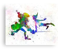 Peter Pan and Captain Hook in watercolor Canvas Print