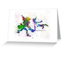 Peter Pan and Captain Hook in watercolor Greeting Card