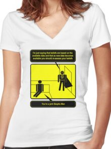 Nobody sees me when I am Skeptic-Man Women's Fitted V-Neck T-Shirt